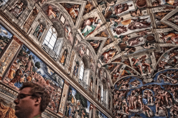The ceiling of Michelangelo's Sistine Chapel as seen on my Jewish Vatican tour