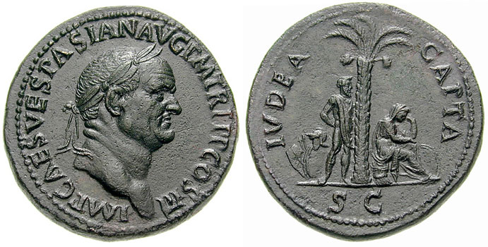 Judaea Capta sestertius minted under Vespasian