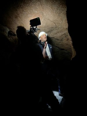 Filming in the Vigna Randanini Jewish Catacombs for a series on Ancient Rome, the Ark of the Covenant and the Menorah